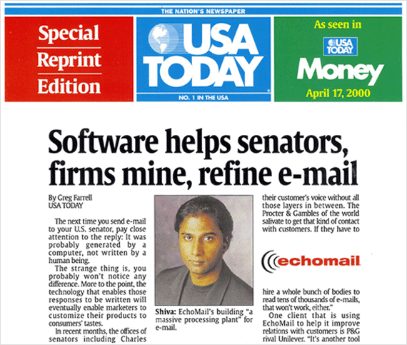 USA Today: Software helps senators, firms mine, refine e-mail
